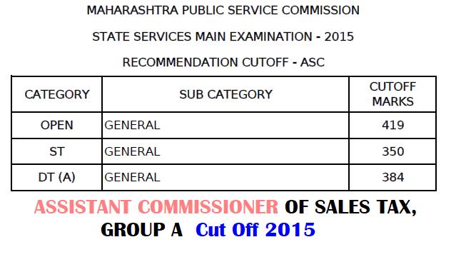 MPSC Assistant Commissioner Of Sales Tax Cut Off 2015