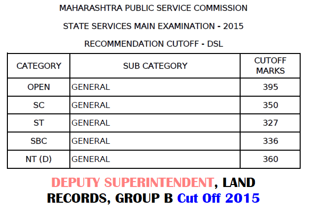 MPSC DSL Cut Off 2015