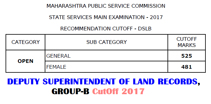 MPSC DSL Cut Off 2017